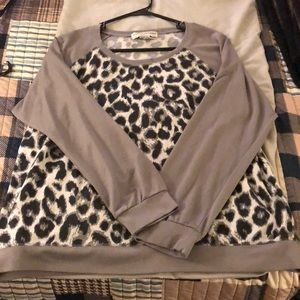 Black and grey leopard print sweater